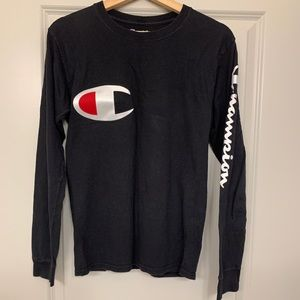 CHAMPION Black Logo Long Sleeve Shirt